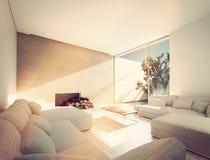 Sunny Mediterranean-woonkamer Royalty-vrije Stock Afbeeldingen