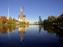 Sunny melbourne reflected in the yarra river Stock Photo