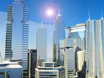Sunny modern city Royalty Free Stock Photo