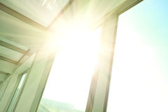Sunny on modern glass office buildings windows. The Sunny on modern glass office buildings windows stock image