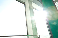 Sunny on modern glass office windows building interior corridor. The Sunny on modern glass office windows building interior corridor stock photo
