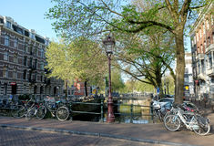Sunny Morning in Amsterdam Royalty Free Stock Photos
