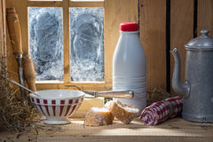 Sunny morning breakfast with milk Royalty Free Stock Photography