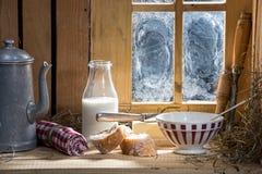 Sunny morning breakfast with milk Royalty Free Stock Photo
