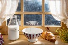 Sunny morning breakfast with milk Stock Image