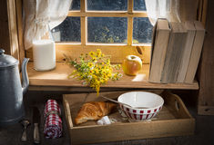 Sunny morning breakfast with milk Royalty Free Stock Photos