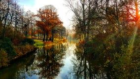 Sunny Morning in Brugge Stock Foto's