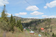 Sunny morning. In the Carpathian mountains stock photo