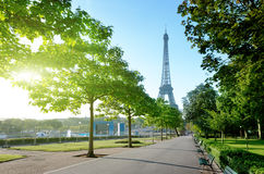 Sunny morning and Eiffel Tower, Paris Stock Photo