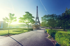 Sunny morning and Eiffel Tower Royalty Free Stock Photo