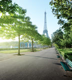 Sunny morning and Eiffel Tower, Paris Stock Images