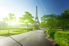 Sunny morning and Eiffel Tower, Paris Stock Image