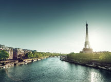 Sunny morning and Eiffel Tower Royalty Free Stock Photography