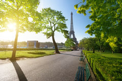 Sunny morning and Eiffel Tower Stock Images