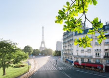 Sunny morning and Eiffel Tower, Paris Royalty Free Stock Photography
