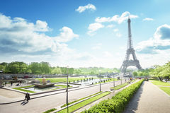 Sunny morning and Eiffel Tower, Paris, France Stock Image
