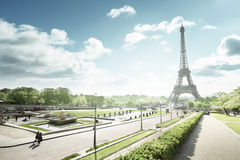 Sunny morning and Eiffel Tower, Paris, France Royalty Free Stock Image