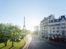 Sunny morning and Eiffel Tower, Paris, France Royalty Free Stock Images