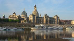 Sunny morning on the Elbe overlooking the Academy of arts. Dresden, Germany