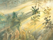 Sunny morning forest landscape watercolor. Sunny morning in the forest landscape watercolor. Sun rays light Royalty Free Stock Image