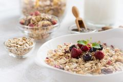 Sunny Morning with Healthy Breakfast. Muesli With Milk, Chia Seeds, Berries and Cinnamon. Royalty Free Stock Photo