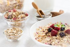 Sunny Morning with Healthy Breakfast. Muesli With Milk, Chia Seeds, Berries and Cinnamon. Stock Image