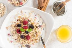 Sunny Morning with Healthy Breakfast. Muesli With Milk, Chia Seeds, Berries and Cinnamon. Stock Photography