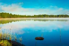 Sunny morning on the lake. Stock Photo