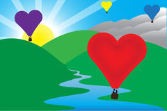 Sunny Morning Love Air Balloon-Scène Royalty-vrije Stock Afbeeldingen