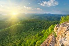 Sunny morning in mountain. Stock Photo