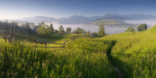 Sunny morning in mountain village Stock Photography