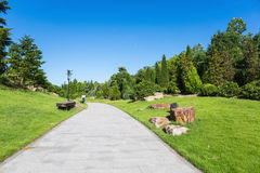 Sunny morning in the park. Blue sky, green fields and pedestrian path Stock Photography