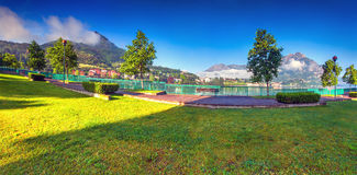 Sunny morning in a park in Le��o town Stock Photography