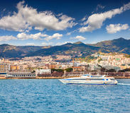 Sunny morning in the port of Messina Stock Images