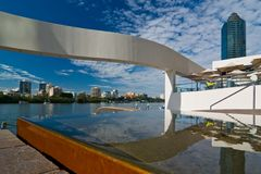 Sunny Morning Riverside, Brisbane. Near Eagle Street Pier and water feature Royalty Free Stock Photography