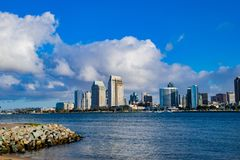 Sunny Morning on the San Diego Bay. A sunny morning view of San Diego as seen from Coronado Island stock photography
