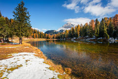 Sunny morning scene on Antorno lake. Colorful autumn landscape in National Park Tre Cime di Lavaredo, Dolomite Alps, South Tyrol. Location Auronzo, Italy stock images