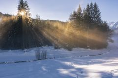 Sunny morning in snowy Tirol royalty free stock photo