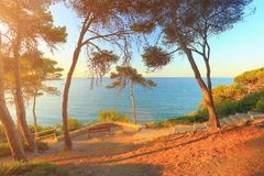 Sunny morning on spanish costa dorada beach Royalty Free Stock Photos