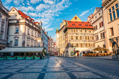 Sunny morning in the splendid street of Prague. Stock Photography