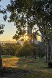 Sunny morning with sunshine thorugh the trees in a park with city buildings in the distance royalty free stock photography
