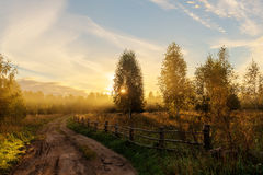 Sunny morning in the village Royalty Free Stock Photos