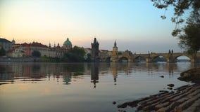 Sunny morning on Vltava stock video footage