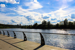 Sunny Moscow embankment, bridge Royalty Free Stock Images