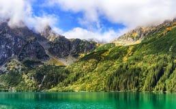 Sunny mountain landscape. Mountain range above Morskie Oko Lake, Rybi Potok Valley, Tatra National Park, Poland stock photos