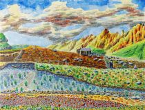 Sunny mountain landscape. Watercolor painting on paper. Sunny mountain landscape. Light clouds in the sky. The shepherd`s hut and the river in the foreground stock image