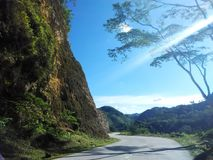 Sunny Mountain Road. In Dalaguete, Philippines Stock Photo