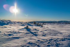Sunny mountain. Sun on the norwegian mountains Stock Photography