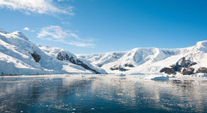 Sunny mountains landscape in Antarctica Royalty Free Stock Images