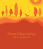 Sunny naive autumn backdrop. Fox runs through the orange forest. Trendy style illustration Royalty Free Stock Image